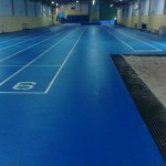 Floor Painting in Deeside College Indoor Running Track