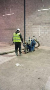 Warehouse flooring preparation with shot blasting
